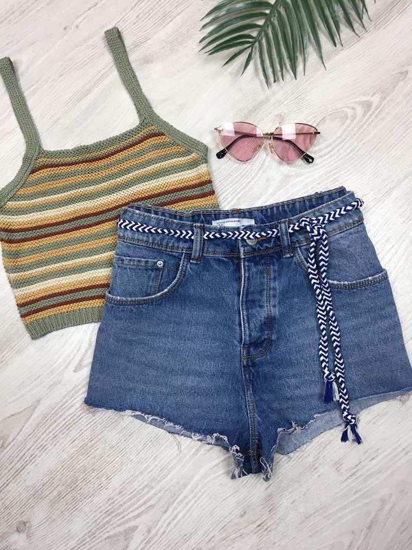 🌿 синие джинсовые шорты zara mom fit с поясом косичка / мом с ...