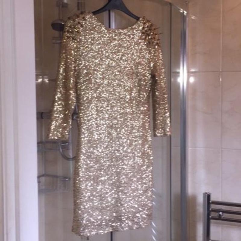 Платье золото пайетки с шипами