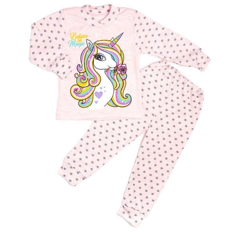 Пижама комбинирована розового цвета интерлок единорог