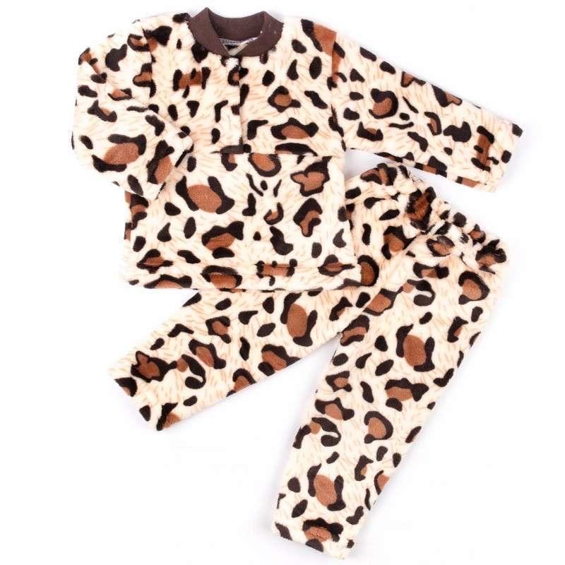 Пижама детская на 2-х пуговицах рваная махра коричневого цвета