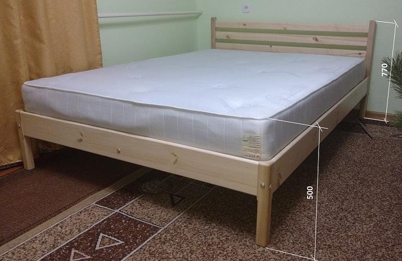 Ліжко дерев'яне, без викрутасів, одне бильце, 1.0 - Фото 2