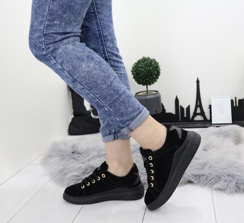 Новые шикарные женские черные кроссовки - Фото 2