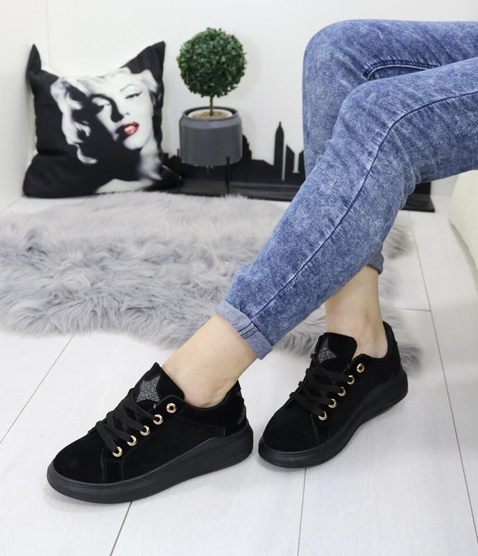 Новые шикарные женские черные кроссовки - Фото 3