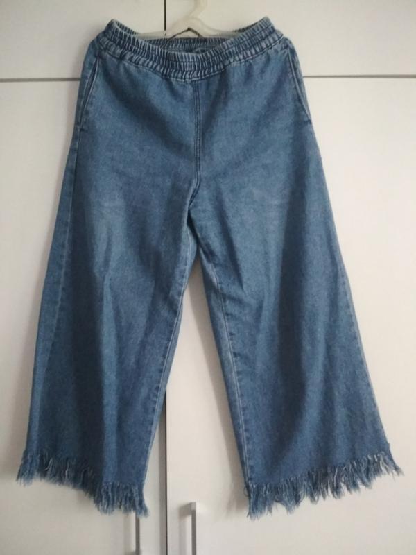 Синие джинсы с бахромой,высокой посадкой bershka