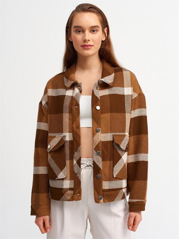 Коричнева бавовняна сорочка-пальто у клітинку {рубашка-пальто}