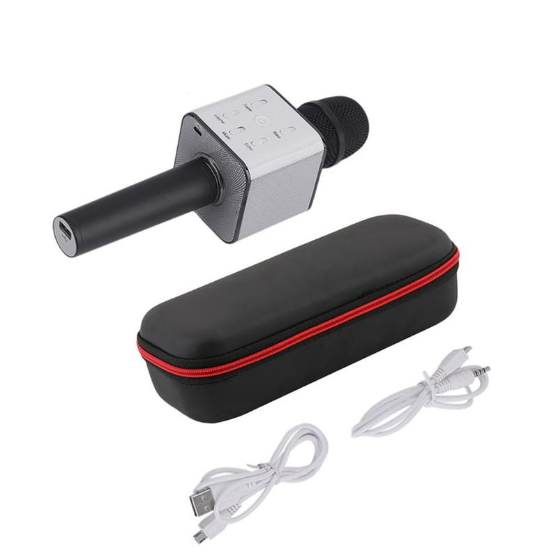 Bluetooth микрофон для караоке Q7 Блютуз микро + ЧЕХОЛ Черный - Фото 5