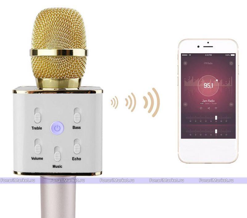 Bluetooth микрофон для караоке Q7 Блютуз микро + ЧЕХОЛ Черный - Фото 10