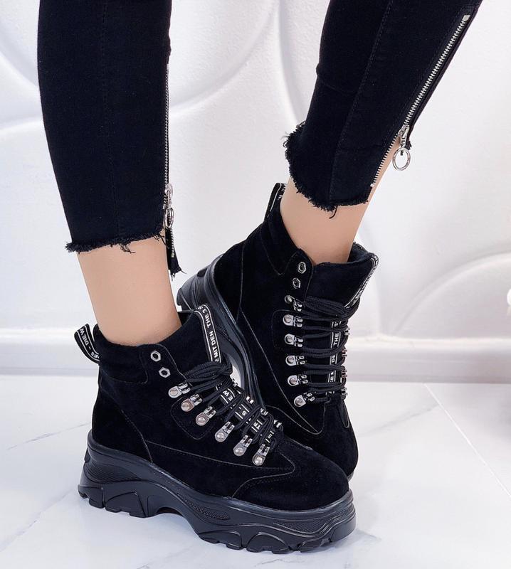 Новые шикарные женские осенние черные ботинки - Фото 2