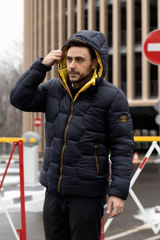 Мужская зимняя куртка пуховик синий