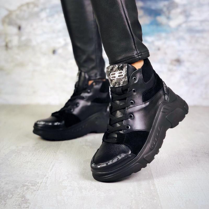 Натуральная кожа высокие кожаные кроссовки на массивной подошве