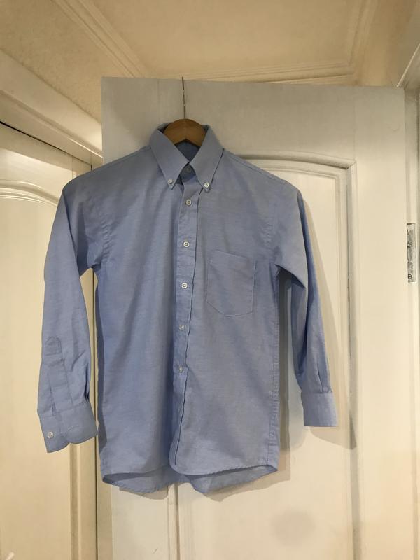 Школьная нарядная рубашка голубая длинный рукав для мальчика 9...