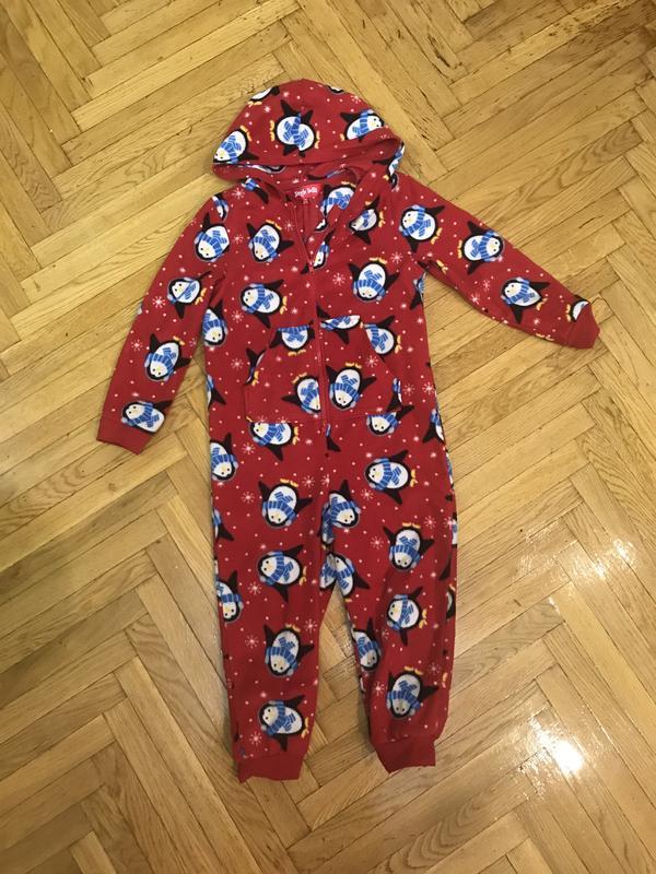 Новогодний человечек флисовая пижама 4-5 лет jingle bells
