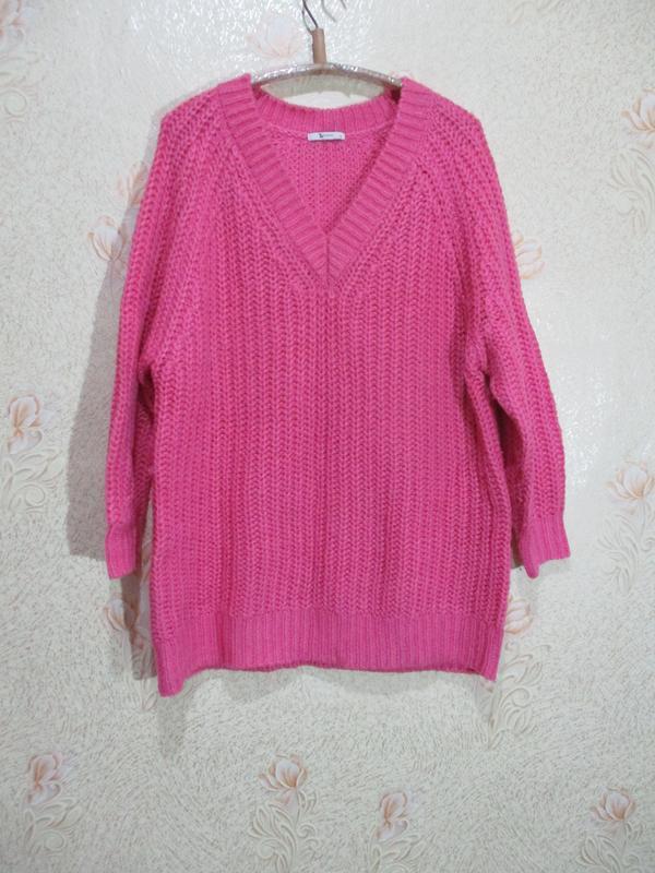 Тёплый удлинённый  свитер крупной вязки/батал