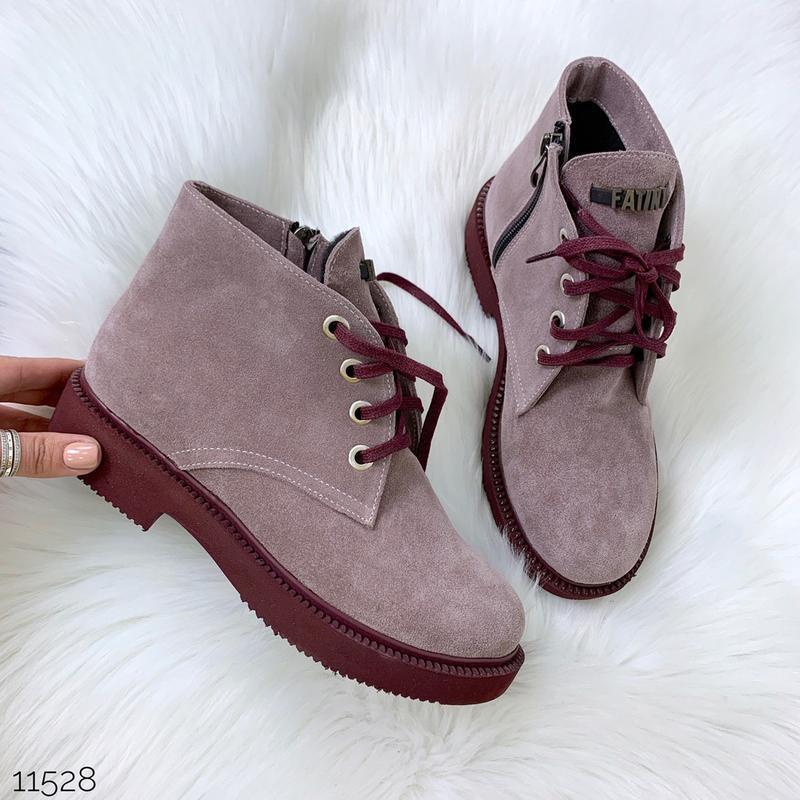Замшевые демисезонные ботинки на низком ходу,лиловые ботинки и...