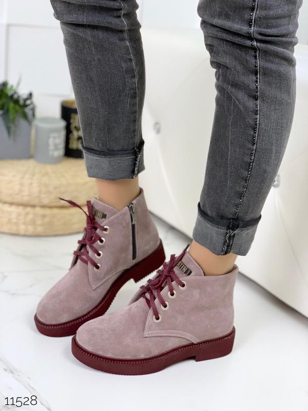 Замшевые демисезонные ботинки на низком ходу,лиловые ботинки и... - Фото 2