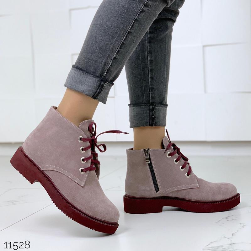 Замшевые демисезонные ботинки на низком ходу,лиловые ботинки и... - Фото 4