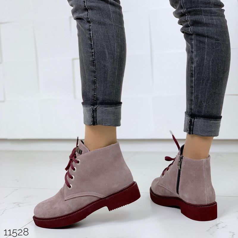 Замшевые демисезонные ботинки на низком ходу,лиловые ботинки и... - Фото 5