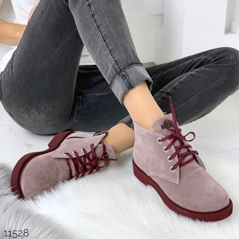 Замшевые демисезонные ботинки на низком ходу,лиловые ботинки и... - Фото 6