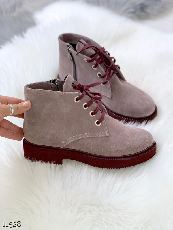 Замшевые демисезонные ботинки на низком ходу,лиловые ботинки и... - Фото 8