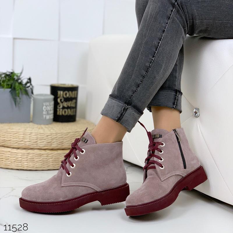 Замшевые демисезонные ботинки на низком ходу,лиловые ботинки и... - Фото 9
