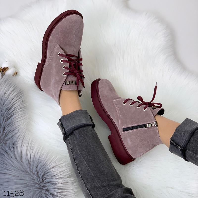 Замшевые демисезонные ботинки на низком ходу,лиловые ботинки и... - Фото 10
