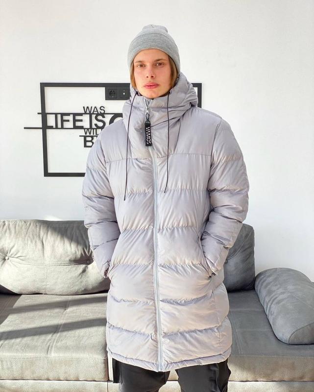 Мужская зимняя удлиненная куртка пуховик парка серого цвета - Фото 3