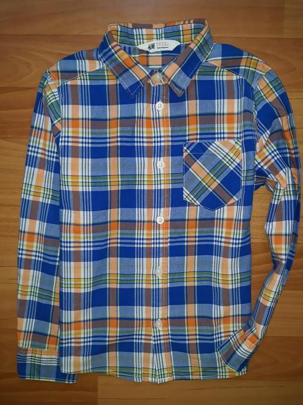 Яркая рубашка h&m на 7-8 лет