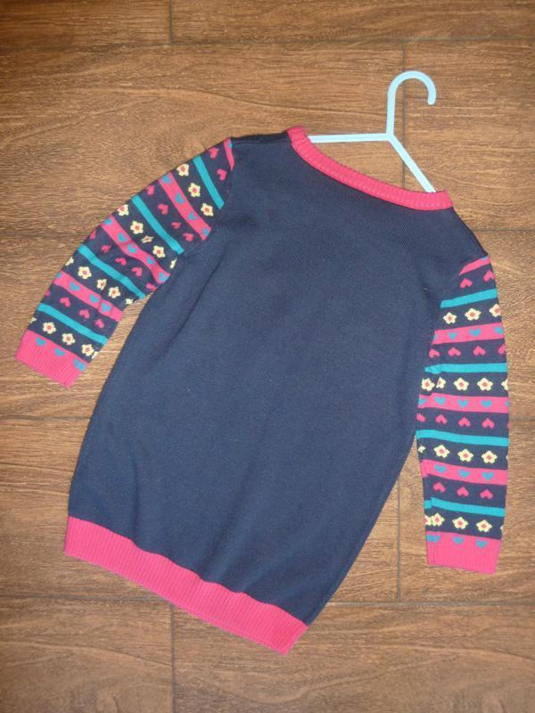 Платье вязаное с рукавом на 3-4 года - Фото 2