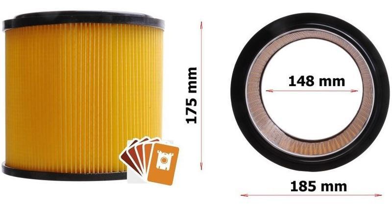 Фильтр строительных/промышленных пылесосов Einhell,ProAspi,Dex...