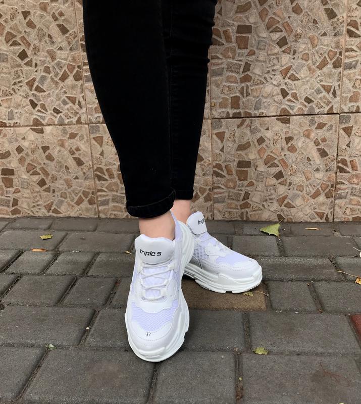 Кроссовки женские белые - Фото 3