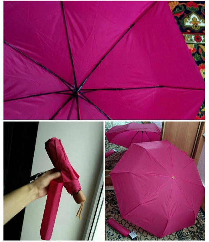 Зонт карманный механика в дамскую сумочку,цвет фуксия
