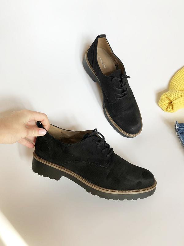 Обалденные натуральные замшевые туфли graceland (лоферы, дерби) - Фото 3