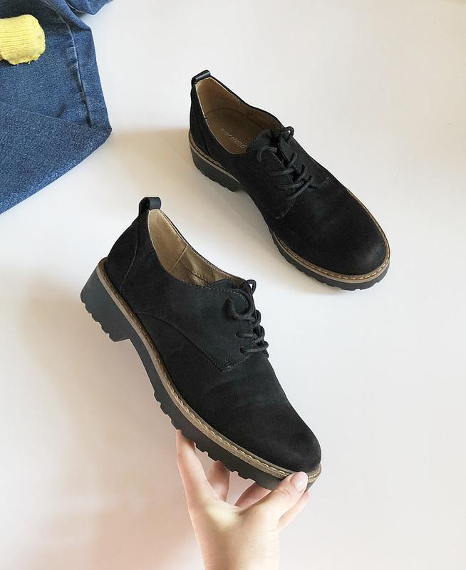 Обалденные натуральные замшевые туфли graceland (лоферы, дерби) - Фото 4