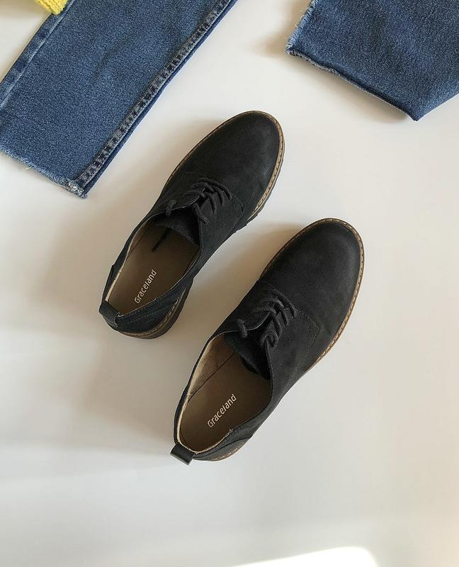 Обалденные натуральные замшевые туфли graceland (лоферы, дерби) - Фото 5