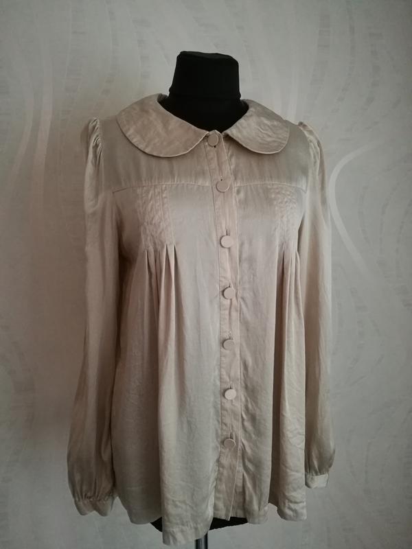 Нюдовая шелковая свободная блуза,рубашка