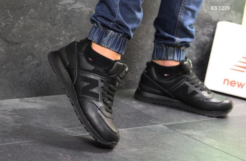 Зимние мужские кроссовки New Balance 574 (черные) | ART: 1239