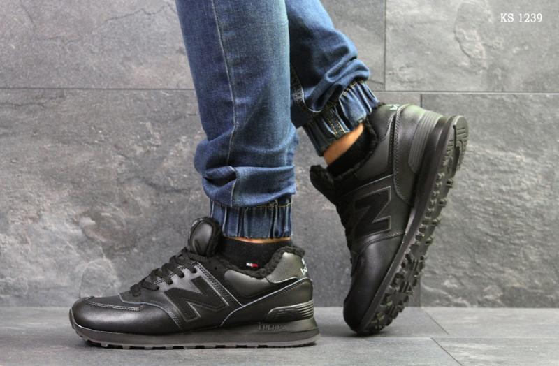 Зимние мужские кроссовки New Balance 574 (черные) | ART: 1239 - Фото 2