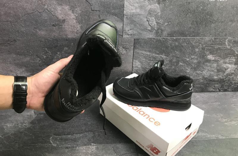 Зимние мужские кроссовки New Balance 574 (черные) | ART: 1239 - Фото 5