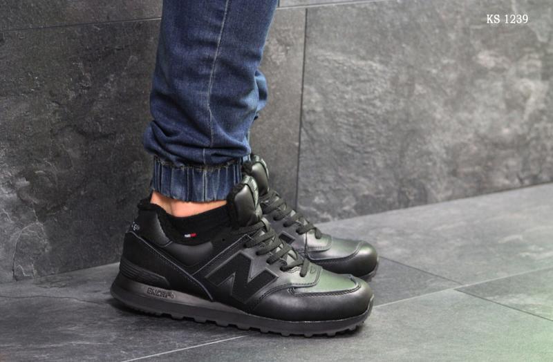 Зимние мужские кроссовки New Balance 574 (черные) | ART: 1239 - Фото 3