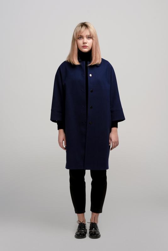 Осеннее женское пальто season бланш синего цвета - Фото 2