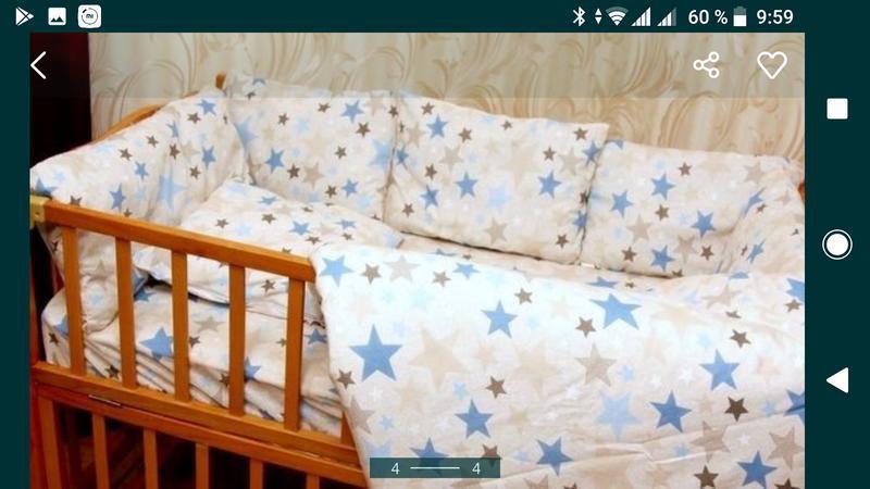 Набор в детскую кроватку постельное и бампер - Фото 2