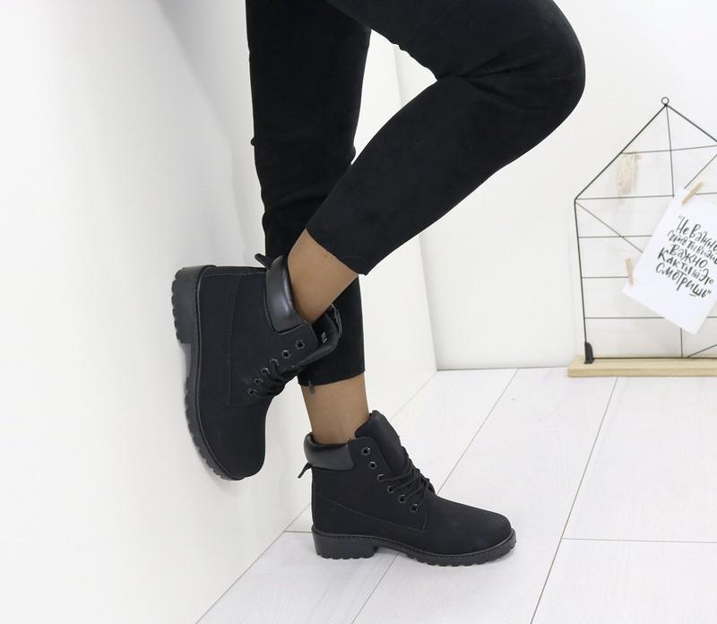 Новые шикарные женские осенние черные ботинки - Фото 4