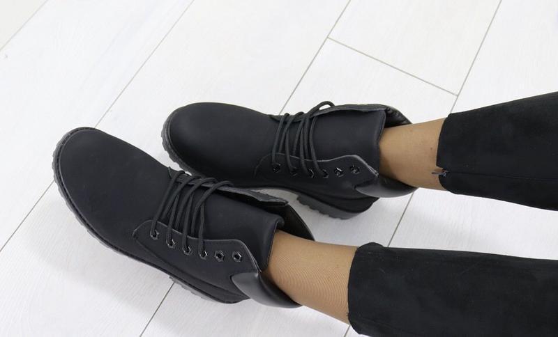 Новые шикарные женские осенние черные ботинки - Фото 5
