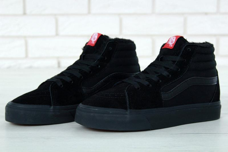 Кеды vans sk8 - hi. winter edition black, зимние вансы с мехом - Фото 5