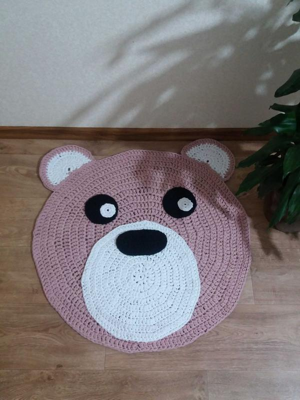 Детский коврик Мишка, вязаный коврик для детской комнаты