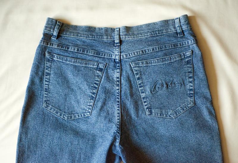 Стильнющие синие джинсовые капри брюки италия, размер m - Фото 7
