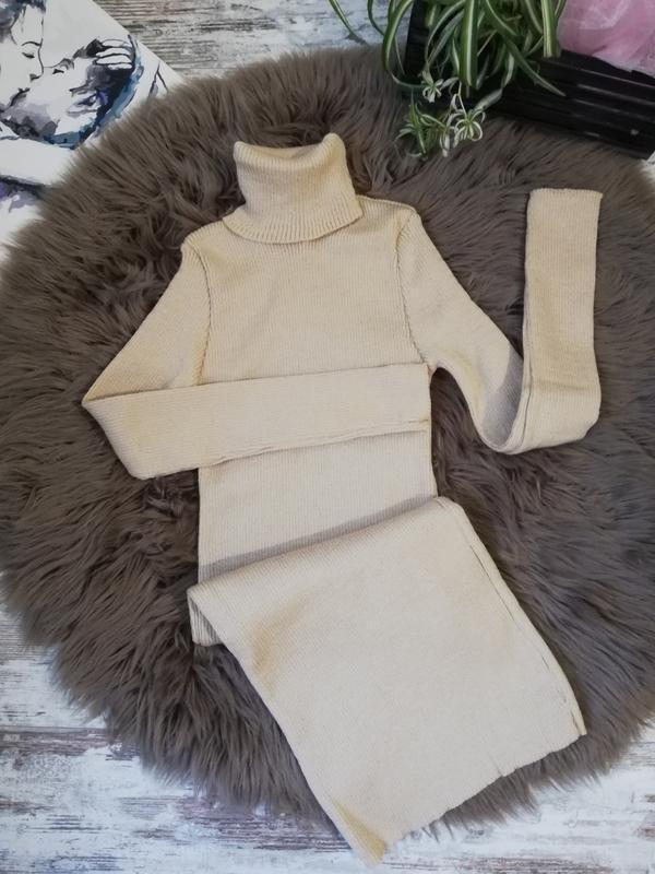Беж, платье рубчик, платье резинка, платье гольф