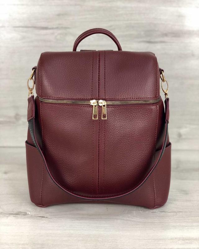 Молодежный сумка-рюкзак фроги бордового цвета 460070 - Фото 3