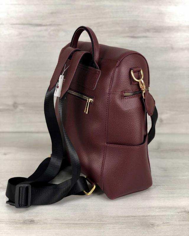 Молодежный сумка-рюкзак фроги бордового цвета 460070 - Фото 4