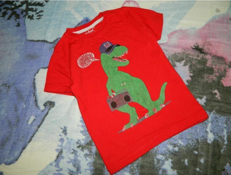 Футболка детская красная с динозавром на мальчика 4-5 лет rebel